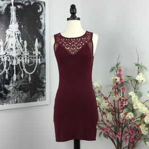 UO Staring At Stars Wine Cut Out Bodycon Dress